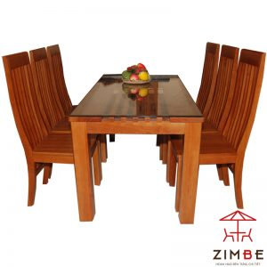 Bộ bàn ăn gỗ sồi 6 ghế BA001