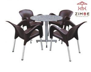 Bộ bàn ghế cafe nhựa mặt đá cao cấp BGN004