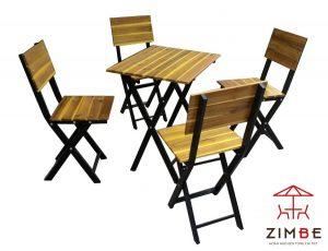 Bộ bàn ghế cafe gỗ chân sắt BGS007