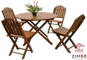 Bộ bàn ghế cafe gỗ bàn tròn BGC012