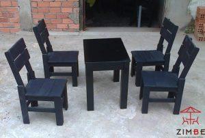 Bộ bàn ghế gỗ cafe sơn đen BGC010