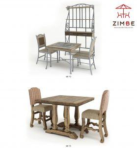 Bộ bàn ghế cafe gỗ mỹ thuật cổ điển BGC013
