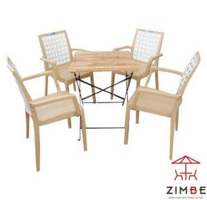 Bộ bàn ghế cafe gỗ hiện đại BGC004