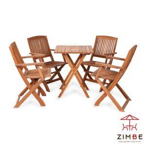 Bộ bàn ghế gỗ cafe xếp BGC015