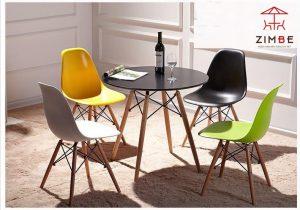 Bộ bàn ghế cafe nhựa chân gỗ cao cấp BGN009