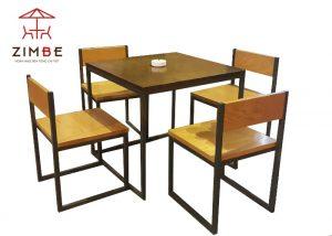 Bộ bàn ghế cafe gỗ chân sắt BGS001