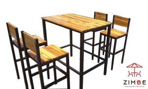 Bộ bàn ghế cafe gỗ khung sắt BGS002