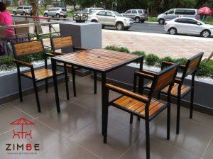 Bộ bàn ghế cafe gỗ thân sắt BGS003