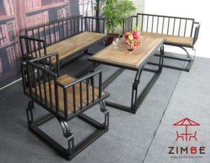Bộ bàn ghế cafe gỗ khung sắt mỹ thuật BGS004