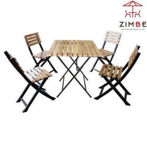 Bộ bàn ghế cafe gỗ pallet khung sắt BGS005