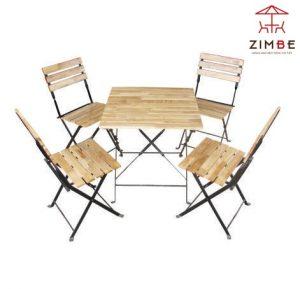 Bộ bàn ghế cafe gỗ xếp pallet BGS006