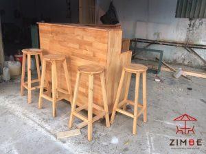 Bộ bàn ghế quầy bar gỗ thông GQB007