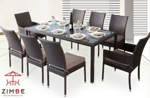Bộ bàn ghế ăn chất liệu mây cao cấp 8 ghế BA003