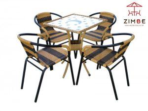 Bộ bàn ghế cafe mây BGM001