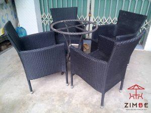 Bộ bàn ghế mây cafe BGM006